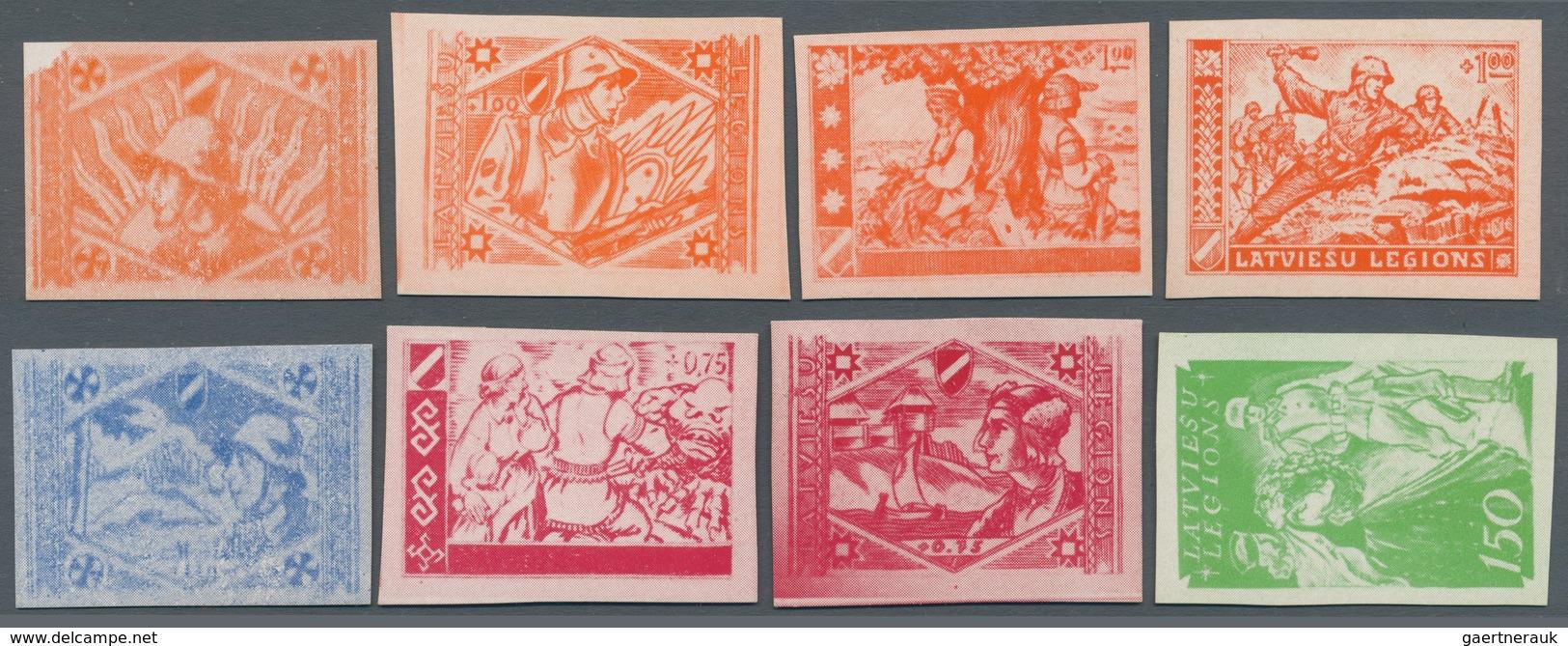 """Lettland - Besonderheiten: 1943/1944, """"LATVIESU LEGIONS"""", Group With 7 Different Imperforated Essays - Lettland"""