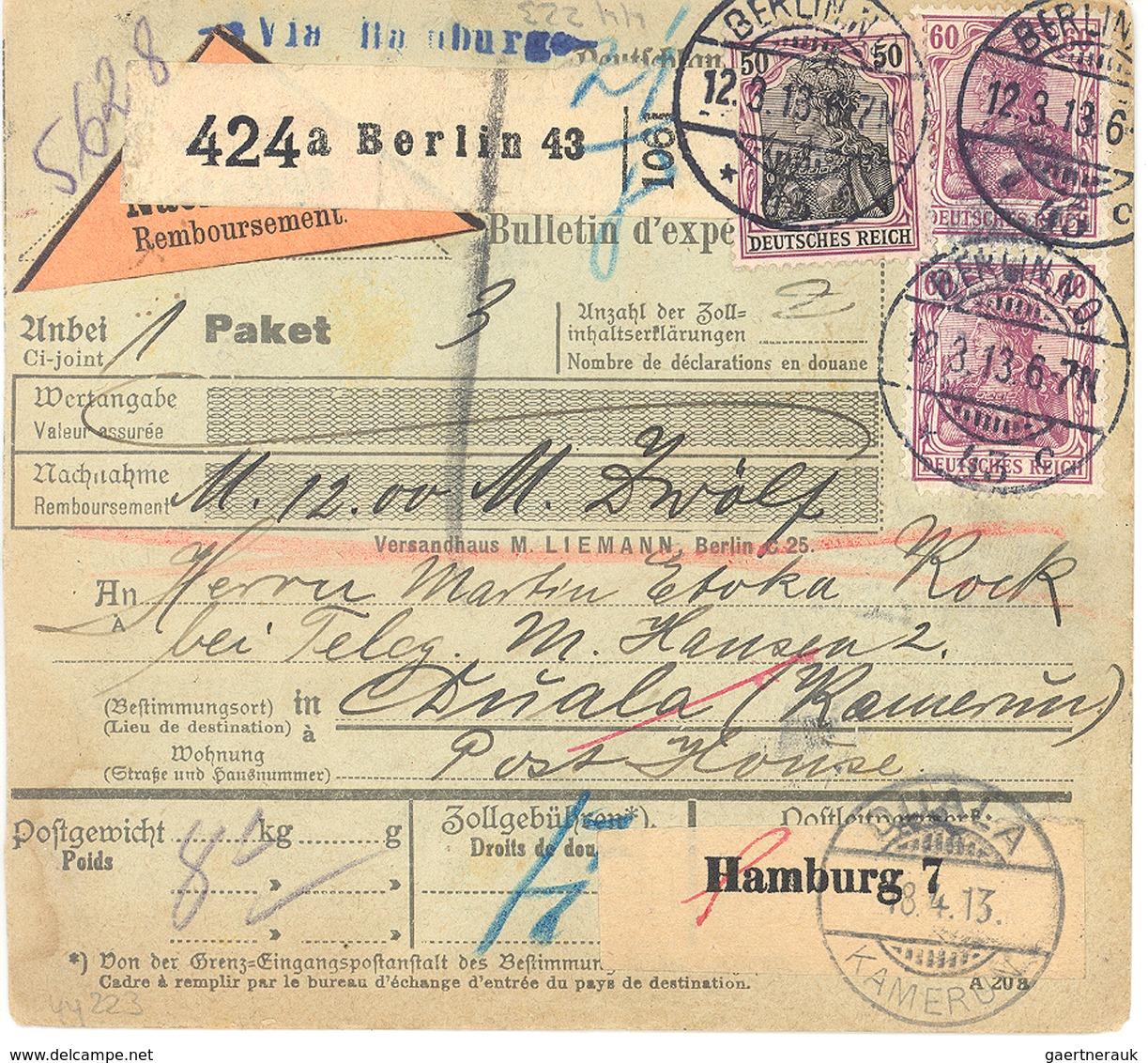 Deutsche Kolonien - Kamerun: 12.3.1913, Paketkarte V. Berlin N. DUALA Mit Germania MiF A. Nachnahme- - Kolonie: Kamerun