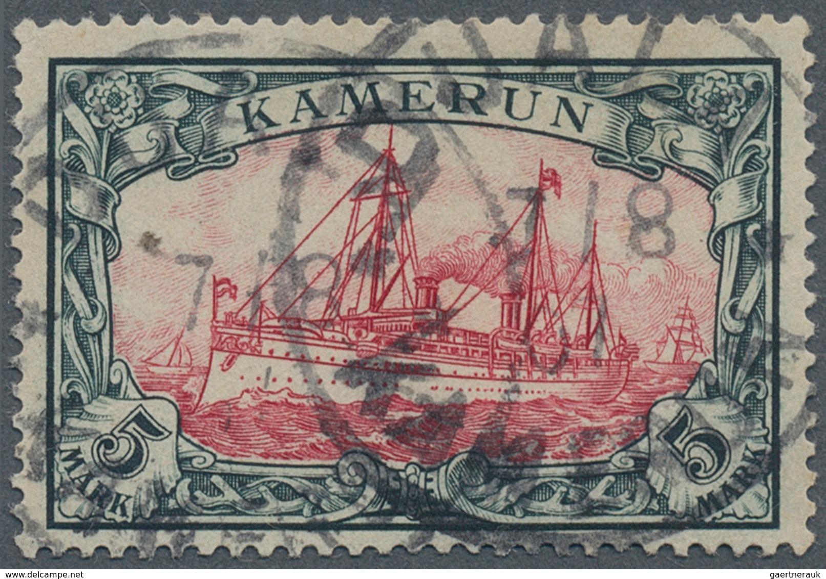 """Deutsche Kolonien - Kamerun: 1907, 5 Mark Schiffszeichnung Sauber Gestempelt K1 """"DUALA"""", Die Marke I - Kolonie: Kamerun"""