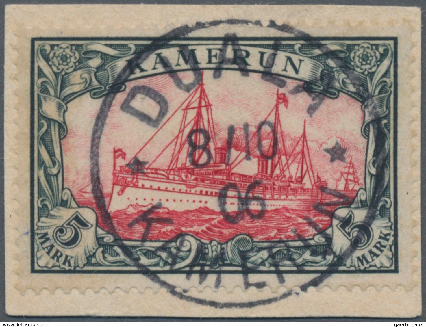 """Deutsche Kolonien - Kamerun: 1900, 5 M. Kaiseryacht Mit Sehr Klarem Stempel """"DUALA KAMERUN 8.10.06"""" - Kolonie: Kamerun"""