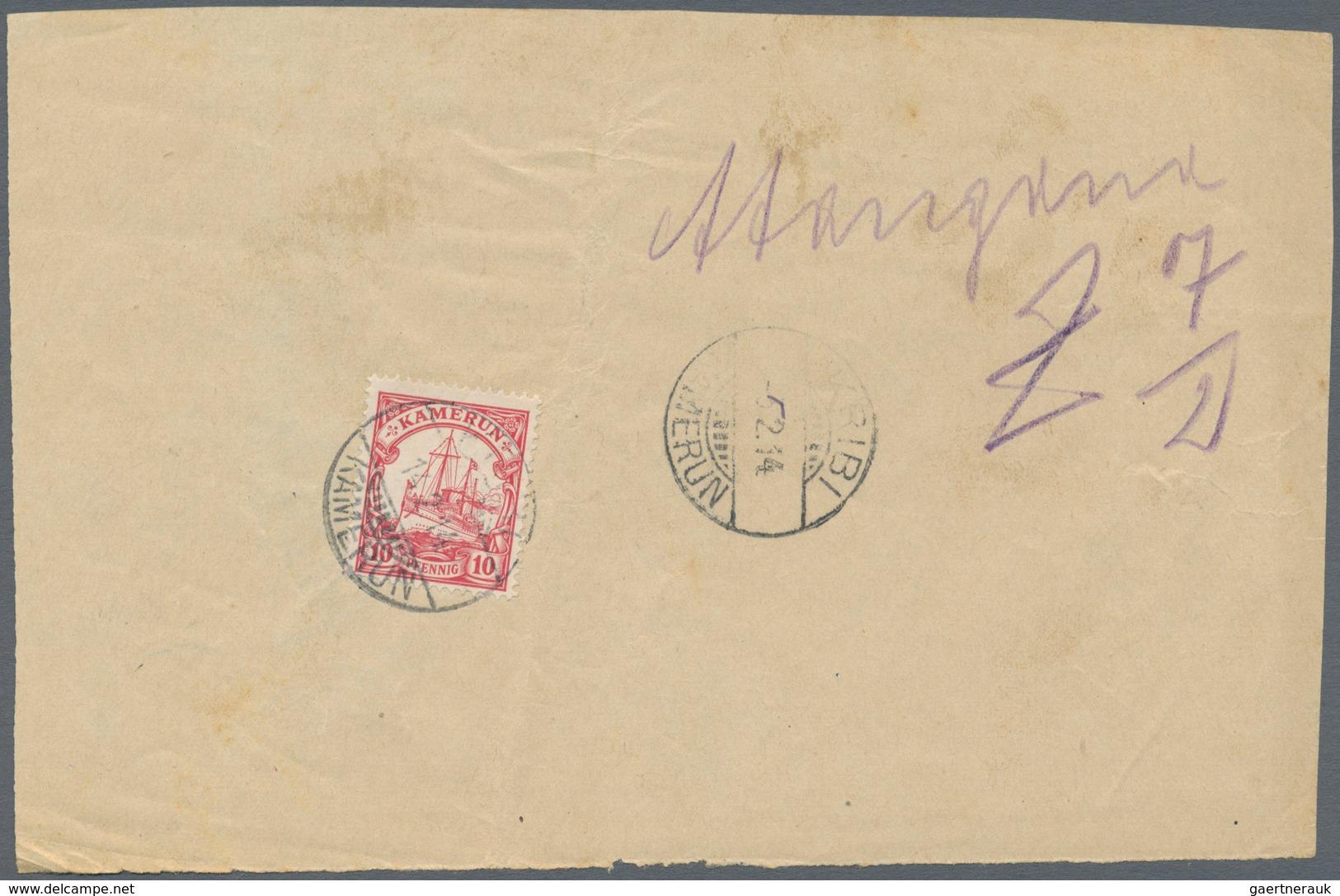 Deutsche Kolonien - Kamerun: 1914, 10 Pfg. Kaiseryacht Rückseitig Auf Postablieferungsschein Für Ein - Kolonie: Kamerun