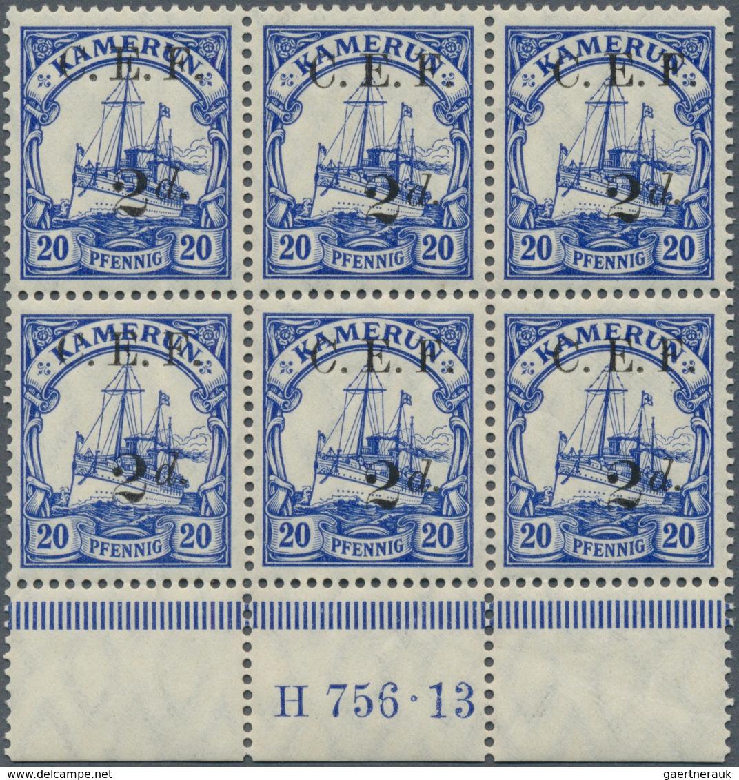 Deutsche Kolonien - Kamerun - Britische Besetzung: 1915, 2 D. Auf 20 Pfg. Ultramarin Im Unterrand-6e - Kolonie: Kamerun