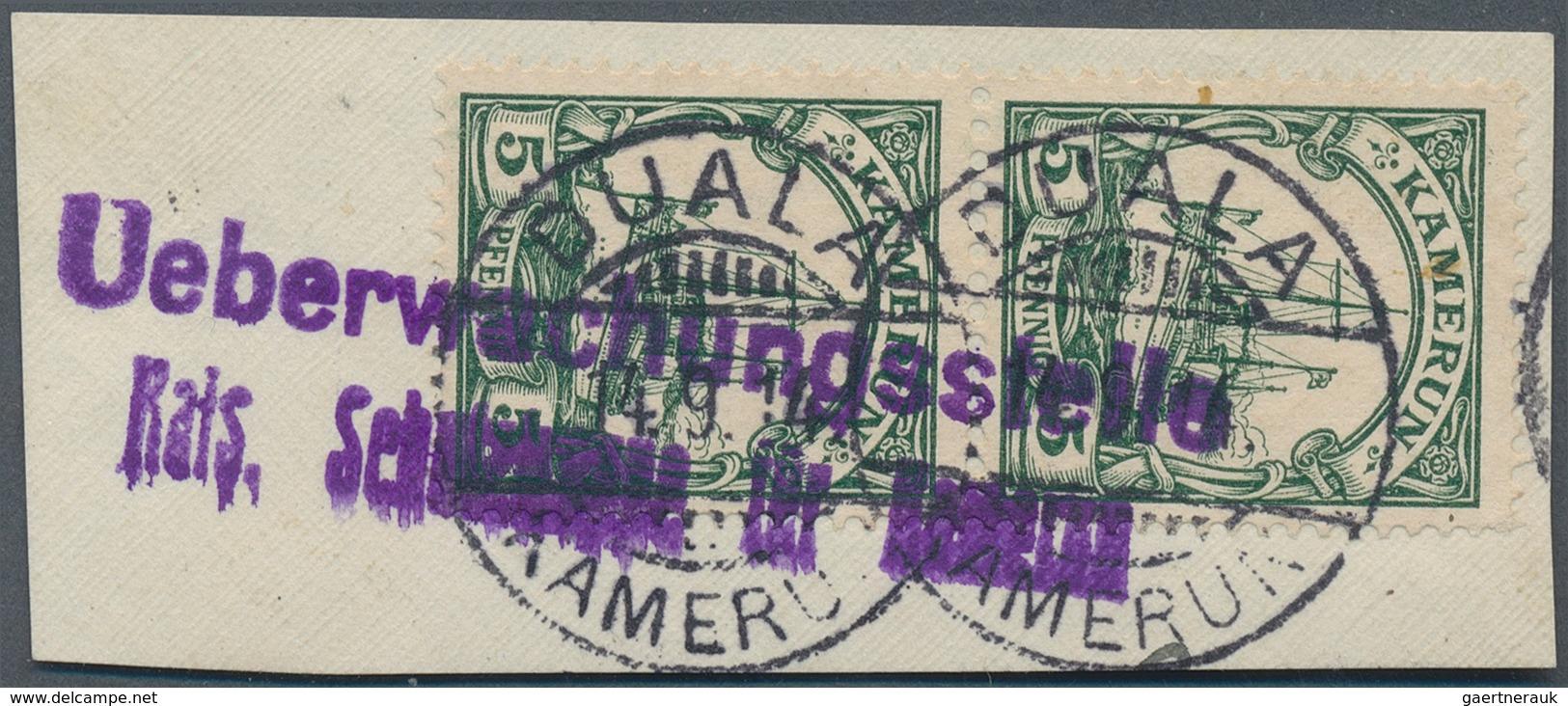 Deutsche Kolonien - Kamerun - Stempel: 1914, Briefstück Mit Senkrechtem Paar Kaiserjacht Gestempelt - Kolonie: Kamerun