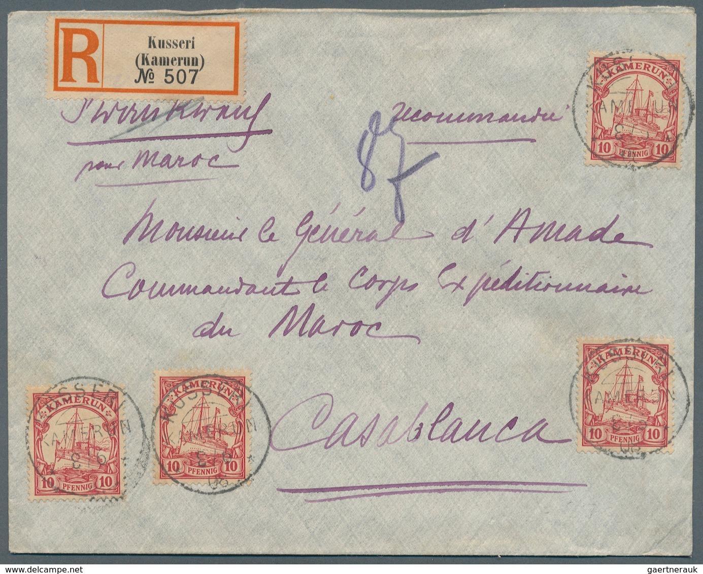 Deutsche Kolonien - Kamerun - Stempel: 1905, Einschreibbrief Mit 4 Exemplaren 10 Pf. Rot, Einzeln En - Kolonie: Kamerun