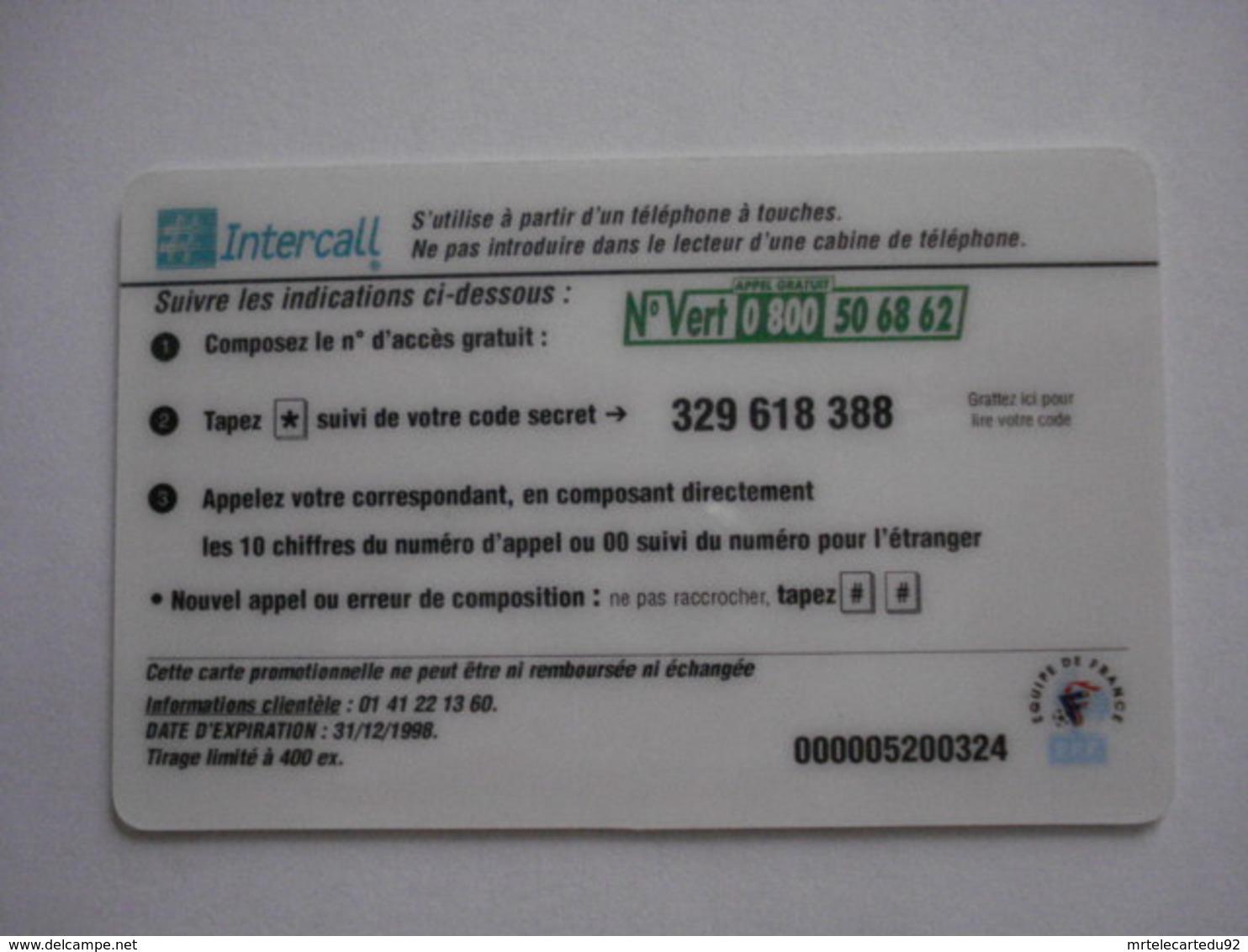 "Carte Prépayée Française ""INTERCALL"" (utilisée Luxe) RARE. - France"