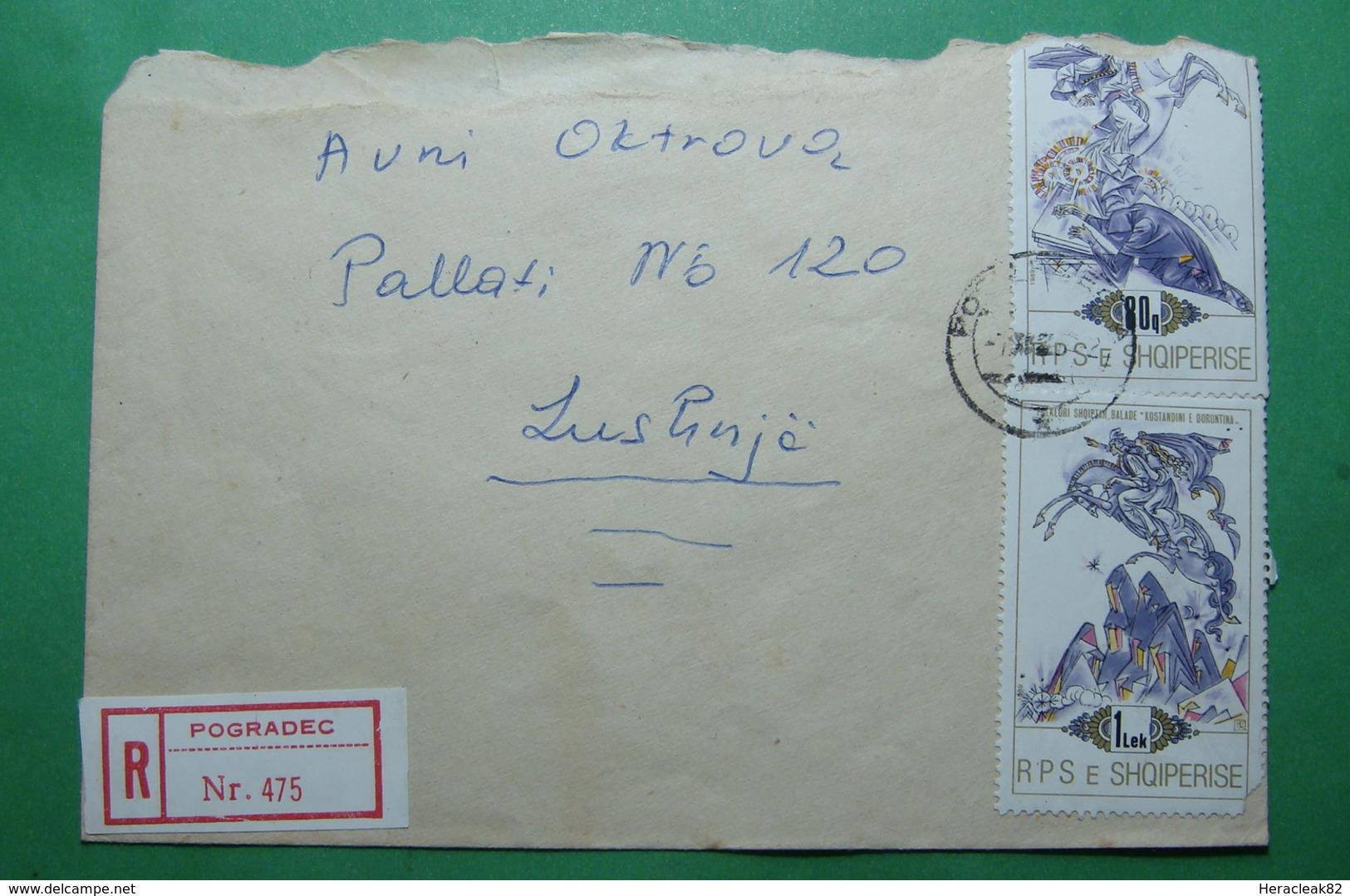 1992 Albania REGISTERED Letter Sent From Pogradec To Lushnja, Stamp: LEGENDS - Albania