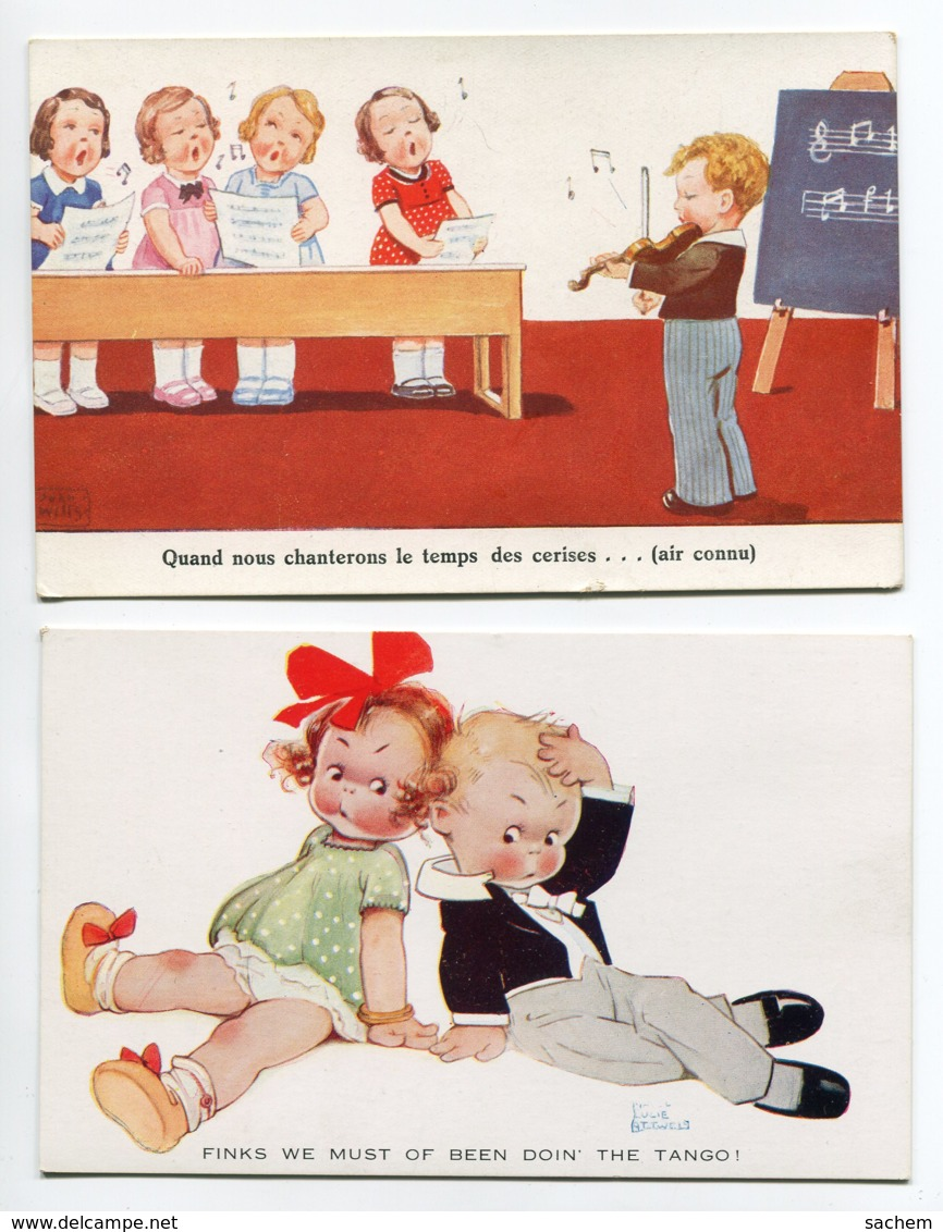 ILLUSTRATEUR 0054  Marie Lucie  ATWELL 2 Cartes Enfants Chanteurs  The Tango - Attwell, M. L.