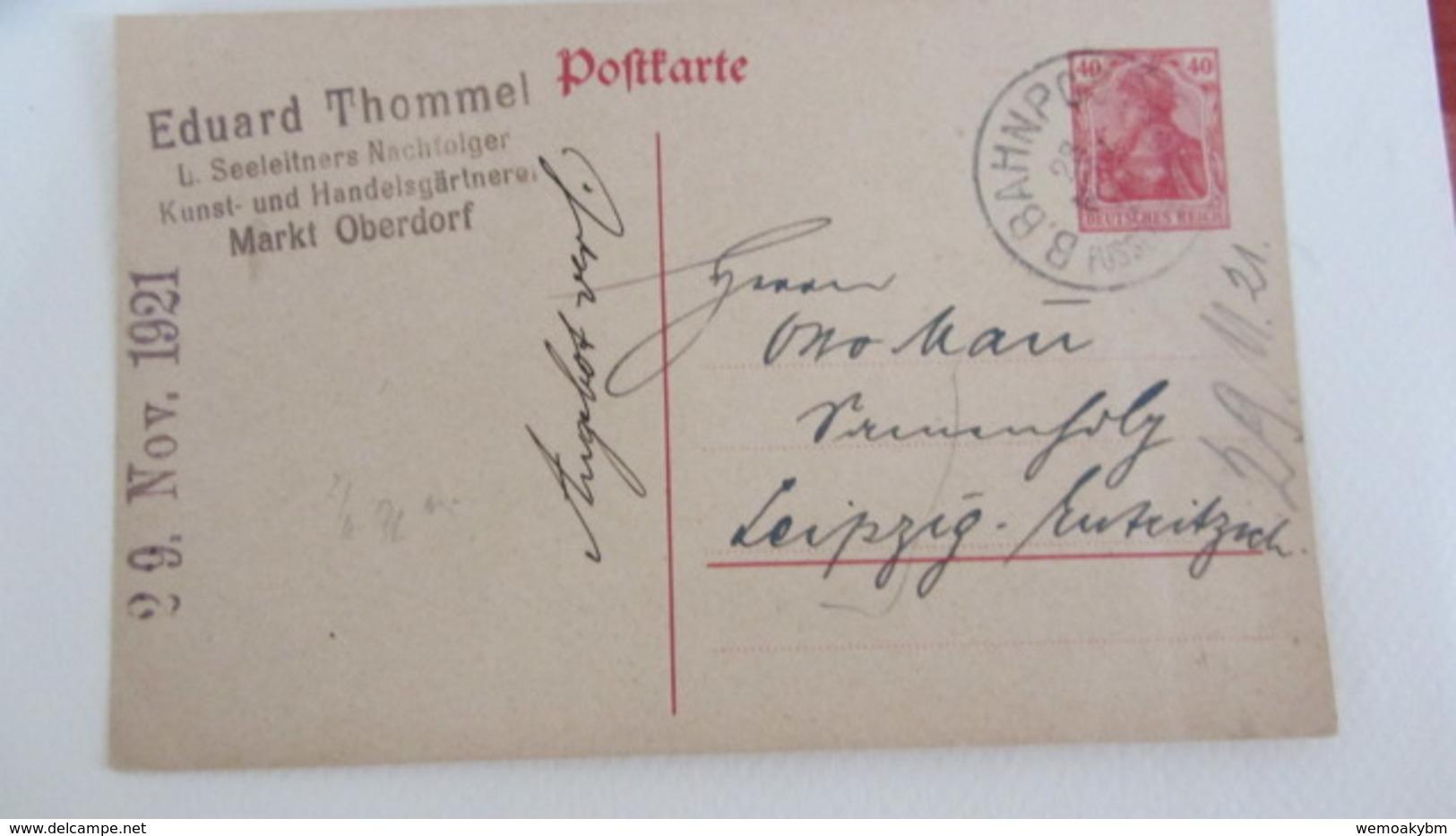 DR: GA Postkarte Mit 40 Pf Germania Mit Bahnpost-Stpl. Füssen Nach Leipzig 28.11.21 Knr:  P121A Abs: E. Thommel Oberdorf - Deutschland