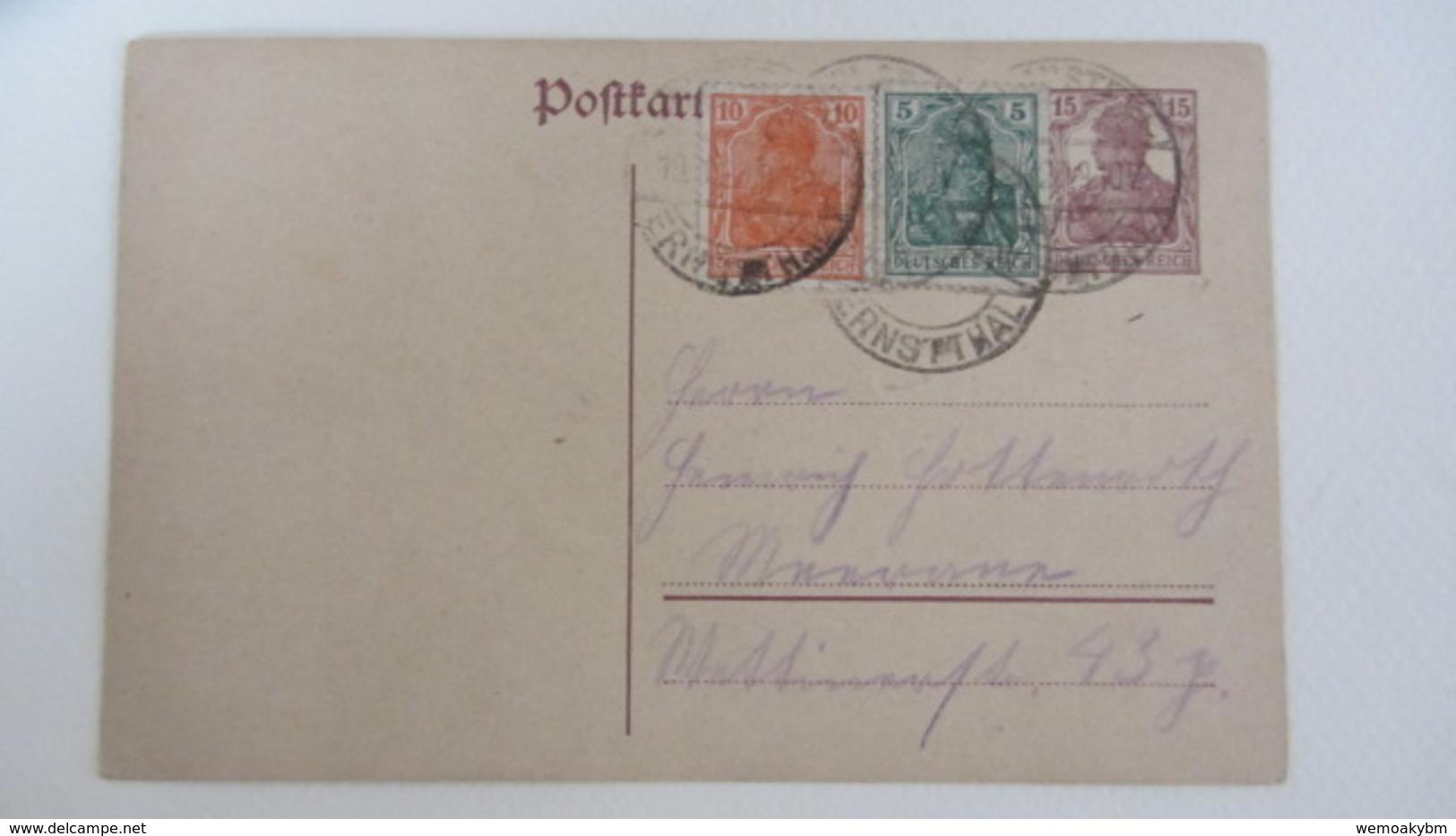 DR: GA Postkarte Mit 15 Pf Germania Mit Zufr.10+5 Pf -Stpl. HOHENSTEIN-ERNSTTHAL Nach Meerane 14.1.20 Knr: P116 I Ua. - Briefe U. Dokumente