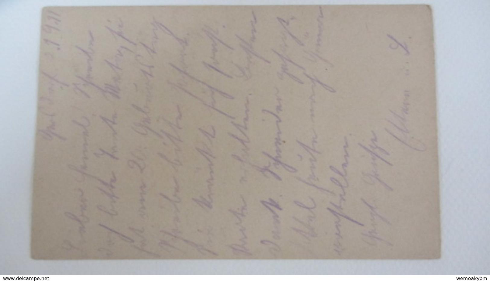 DR: GA Postkarte Mit 15 Pf Germania Mit Zufr.10+5 Pf -Stpl. HOHENSTEIN-ERNSTTHAL Nach Meerane 14.1.20 Knr: P116 I Ua. - Deutschland