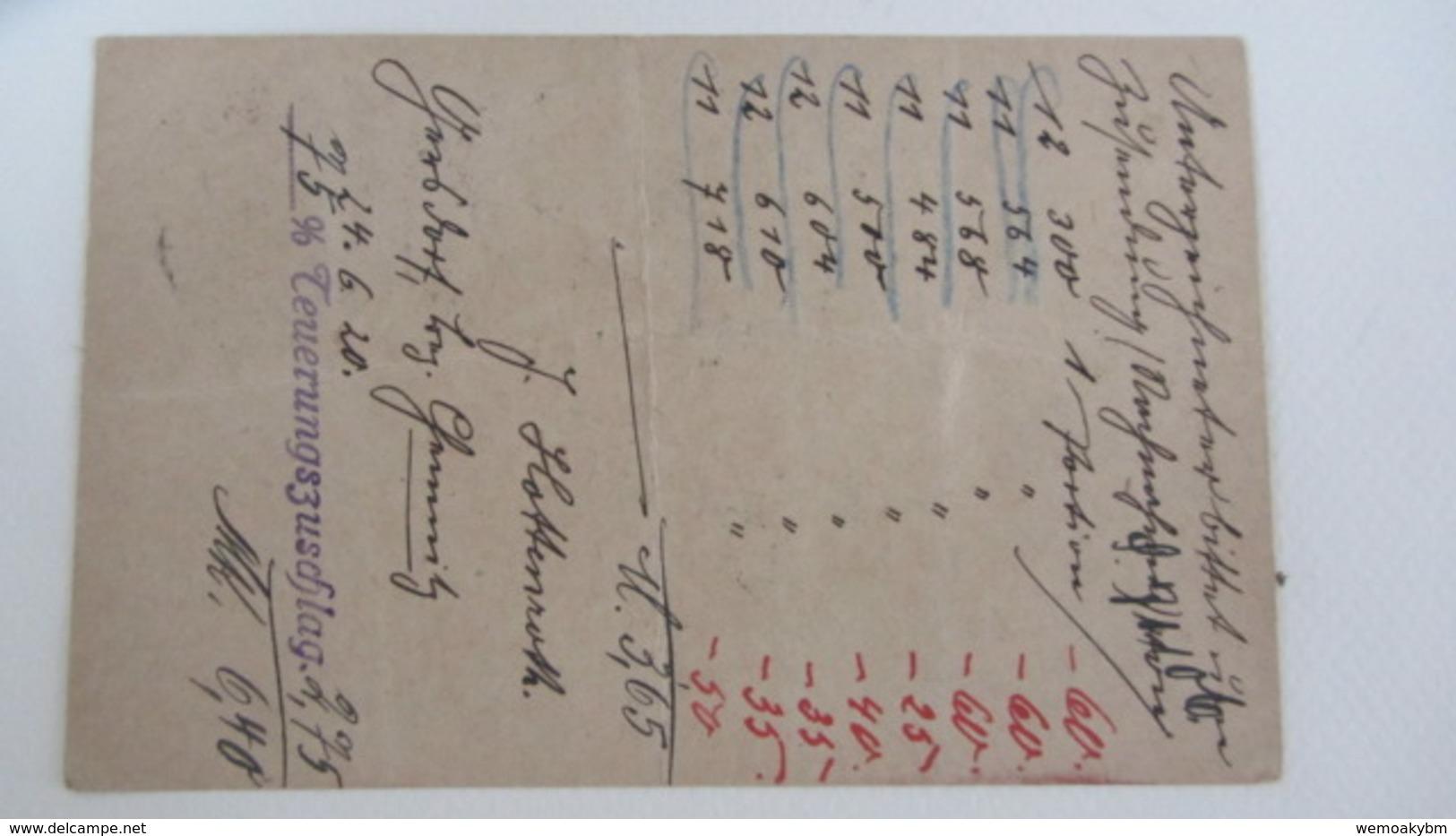 DR: GA Postkarte Mit 15 Pf Germania Und Zusatzfr.15 Pf Stpl. GERSDORF(BZ. CHEMNITZ) Nach Erfurt 24.6.20 Knr: P116 I Ua. - Briefe U. Dokumente