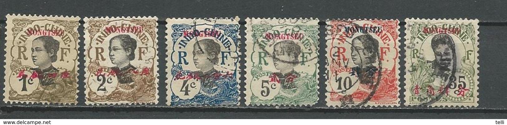 MONG TZEU Scott 33-37, 42 Yvert 34A-38, 43 (3) O 15,50 $ 1908 - Oblitérés