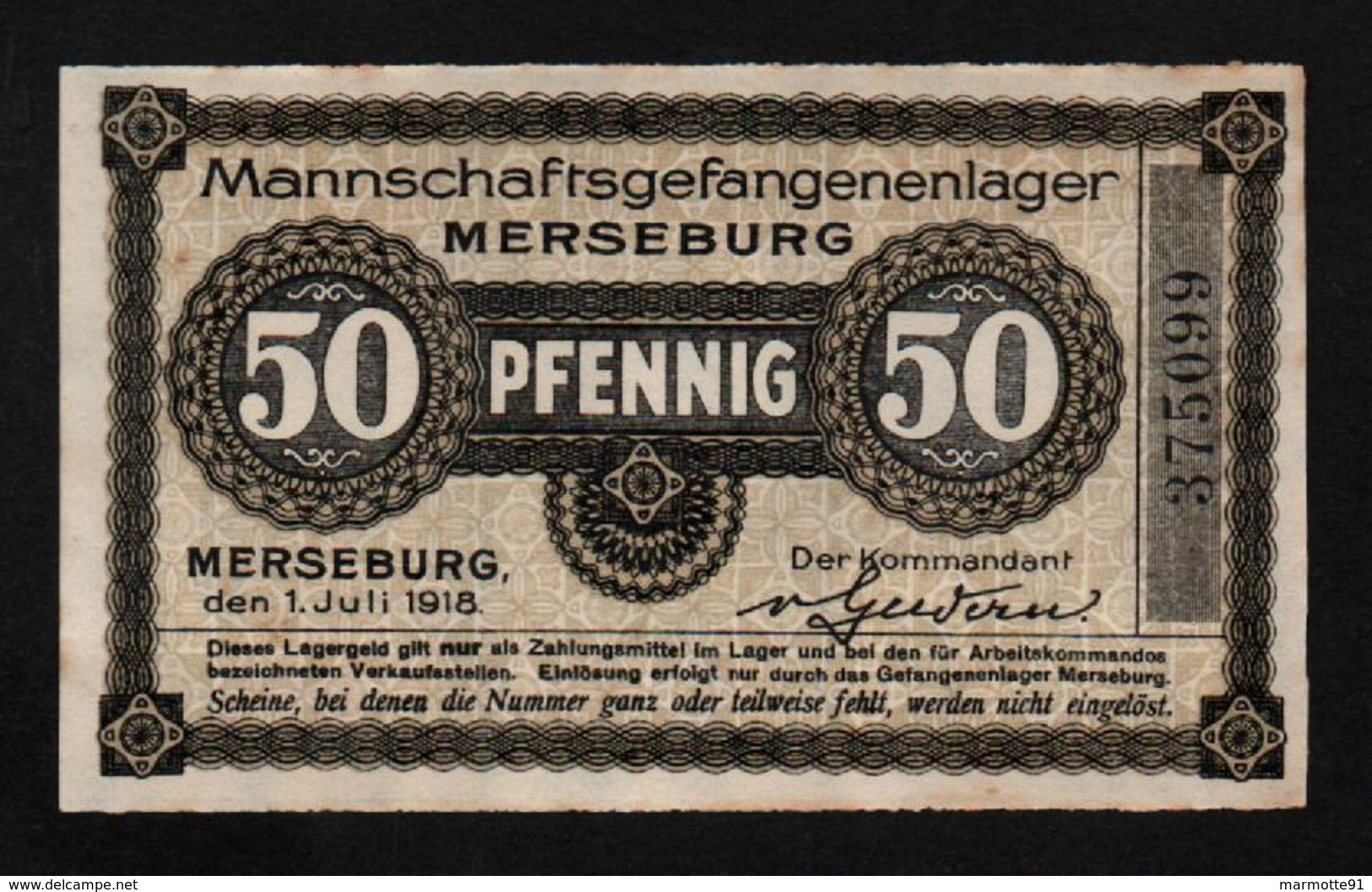 GEFANGENENLAGER GELD LAGERGELD BILLET CAMP MERSEBURG PRISONNIER ALLEMAGNE KG POW GUERRE 1914 1918 - [10] Emissions Militaires