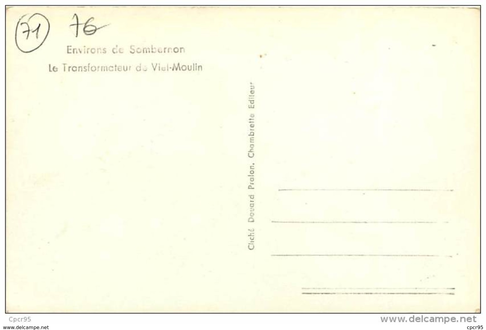 71.ENVIRONS DE SOMBERNON.N°39.LE TRANSFORMATEUR DE VIEL-MOULIN - Francia