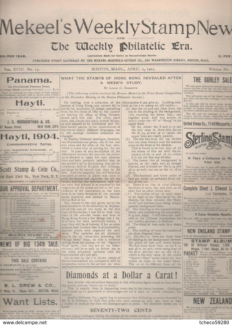 "USA :   95 Revue   "" Mekeel's Weekly Stamp News  "" 1904-1905-1906  Complet N°691-800 RARE RARE - Inglesi (prima Del 1940)"