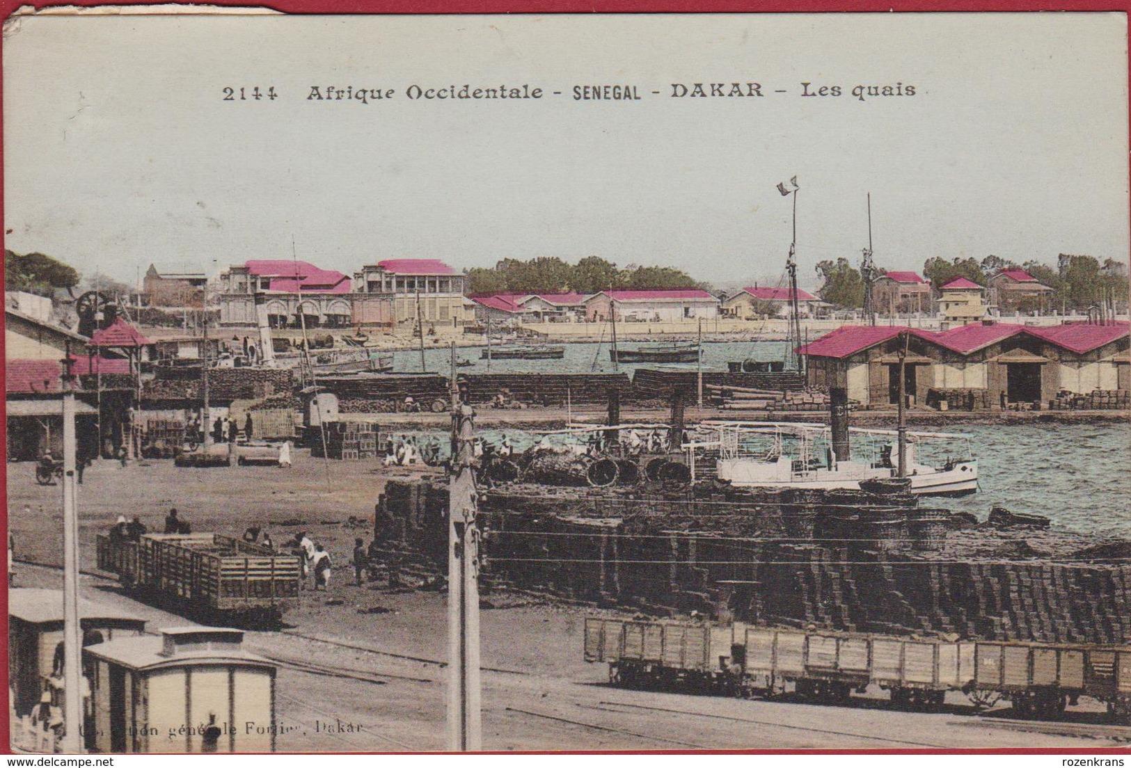 Senegal 1916 Senegal Dakar Les Quais Le Port Harbour Train Wagon Chemin De Fer Bateau Boat Animee Afrique Occidentale - Sénégal
