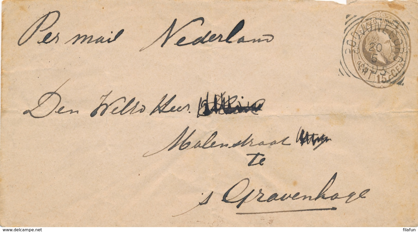 Nederlands Indië - 1895 - 15 Cent Willem III, Envelop G8 Van VK BODJONEGORO Via VK TOEBAN Naar Den Haag / Nederland - Nederlands-Indië