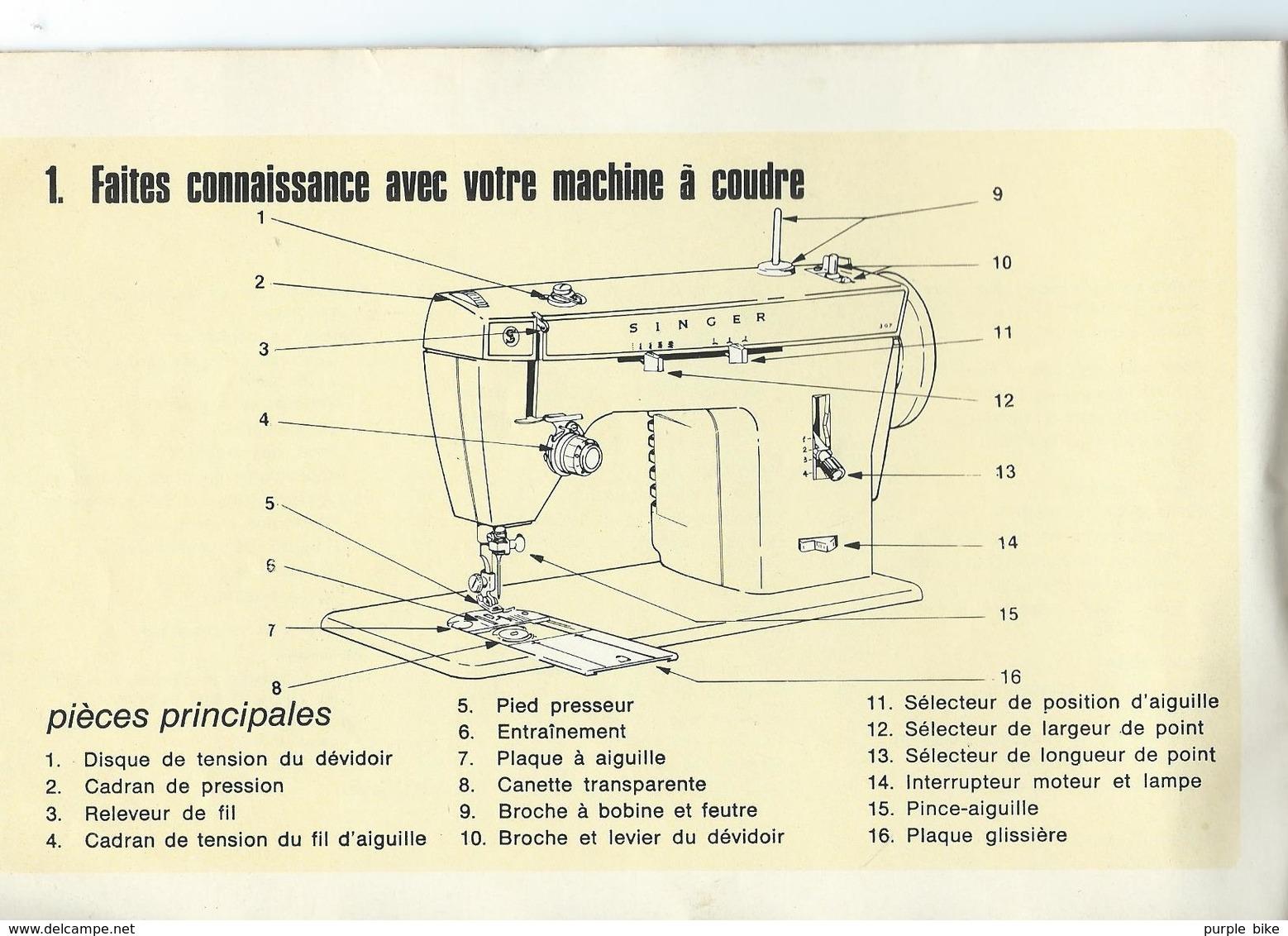 Notice D'utilisation Machine à Coudre SINGER 1975 21x14 Cm 43 Pages Bon état Général - Machines