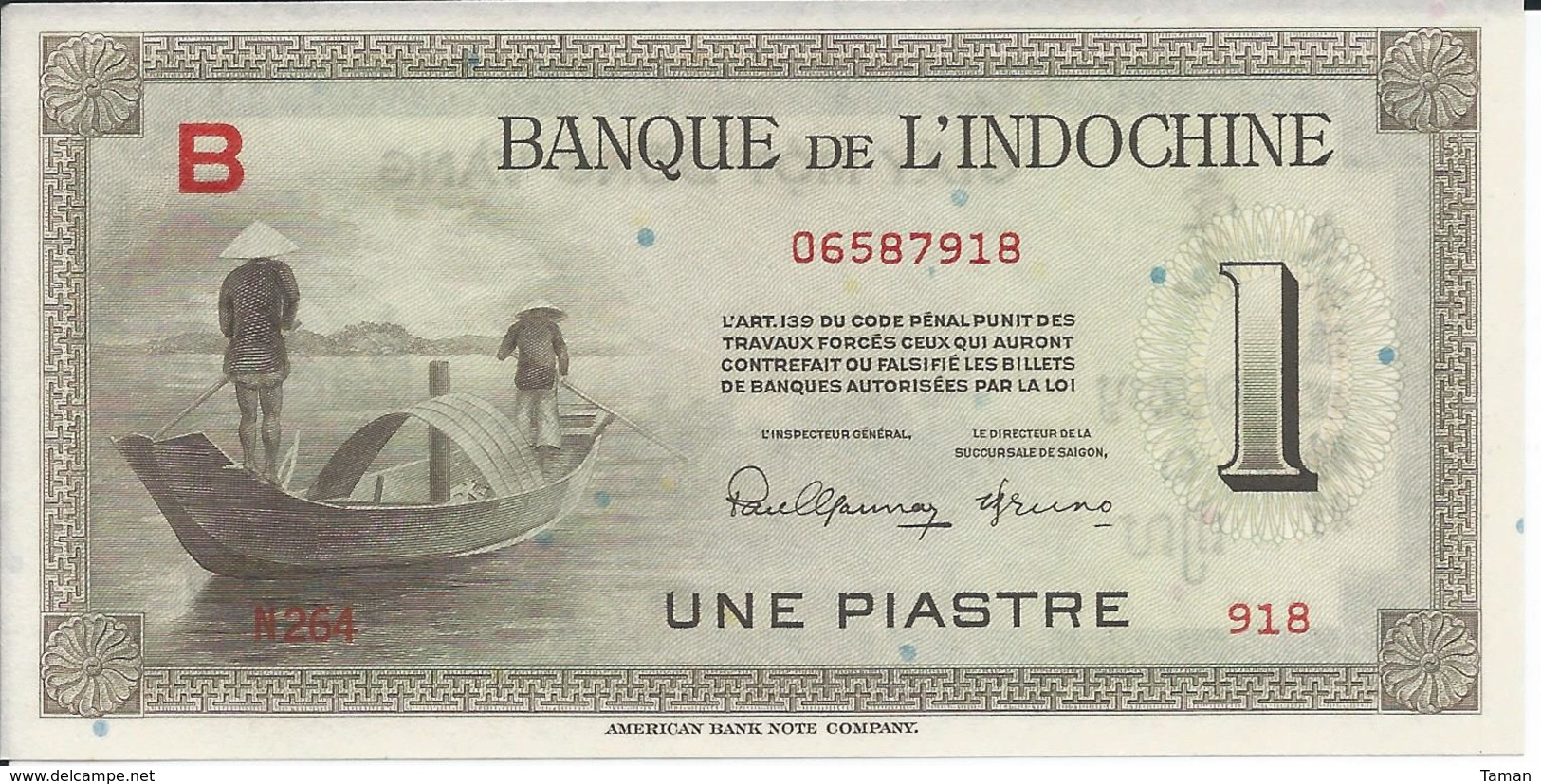INDOCHINE   1  Piastre   Nd(1945)   -- UNC --   Lettre  B - Indocina