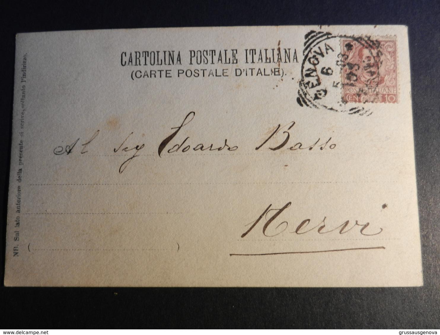 19868) CARRO CALESSE RICOLMO DI FIORI TIMBRO GENOVA 1903 LUOGO DA IDENTIFICARE - Cartoline
