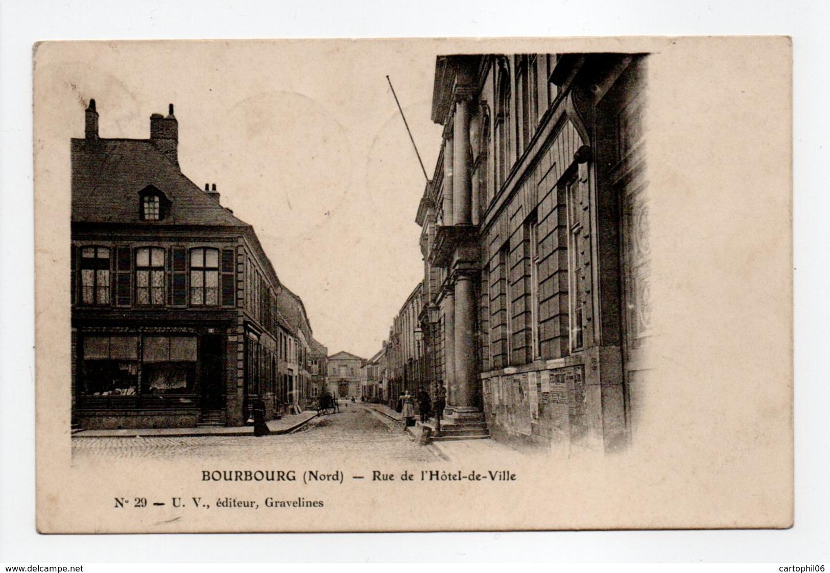 - CPA BOURBOURG (59) - Rue De L'Hôtel-de-Ville 1906 - Edition U. V. N° 29 - - France