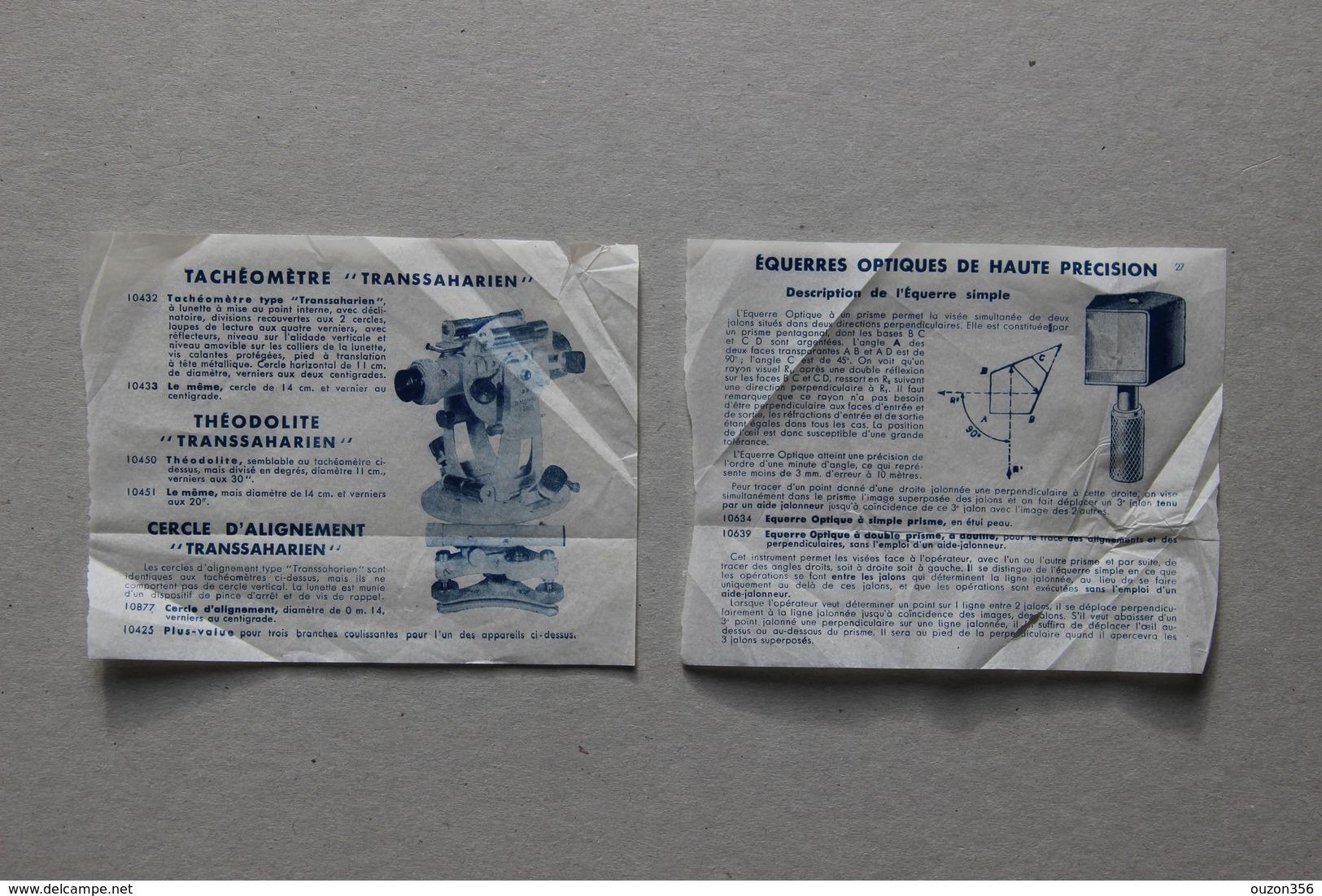 """2 Documents, Equerre Optique De Haute Précision Et Tachéomètre """"Transsaharien"""" - Machines"""