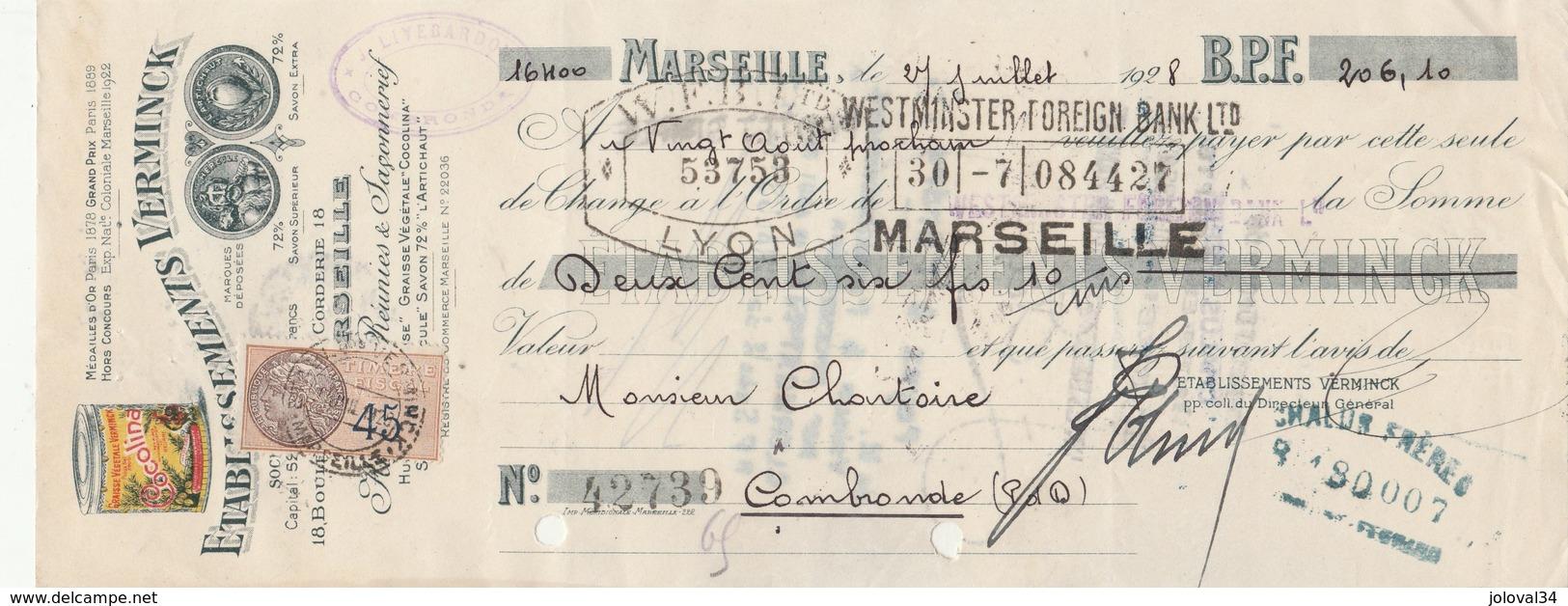 Lettre Change Illustrée 1928 Ets VERMINCK Graisse Cocolina Savon MARSEILLE Bouches Du Rhône Chartoire Combronde - Lettres De Change