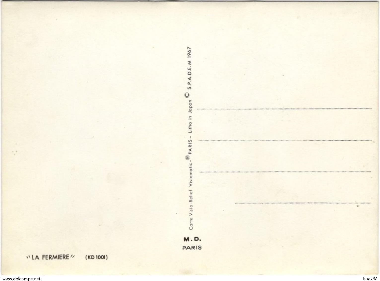 CPM Vision Stéréoscopique Bonne Année La Fermière SPADEM 1967 Procédé Vista-Relief Avant L' Hologramme - Stereoscope Cards