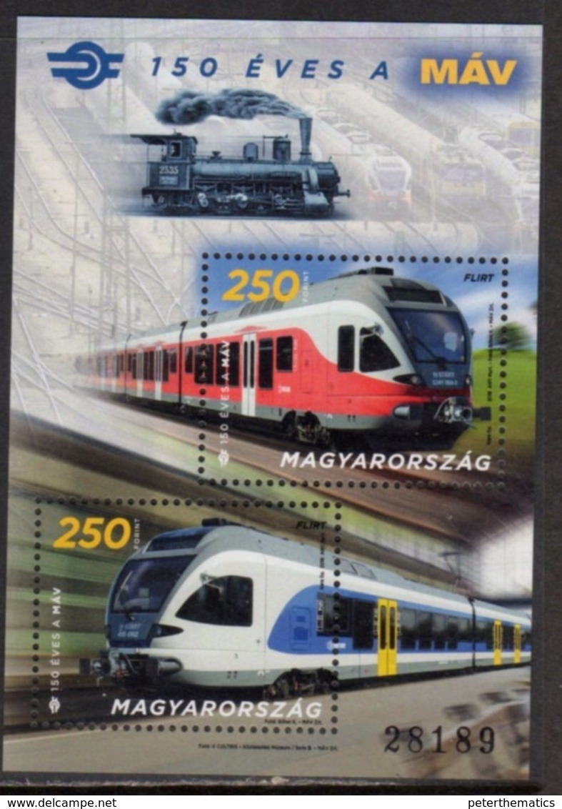 HUNGARY, 2018,MNH,  TRAINS, 125 YEARS OF STATE RAILWAYS.,  S/SHEET - Trains