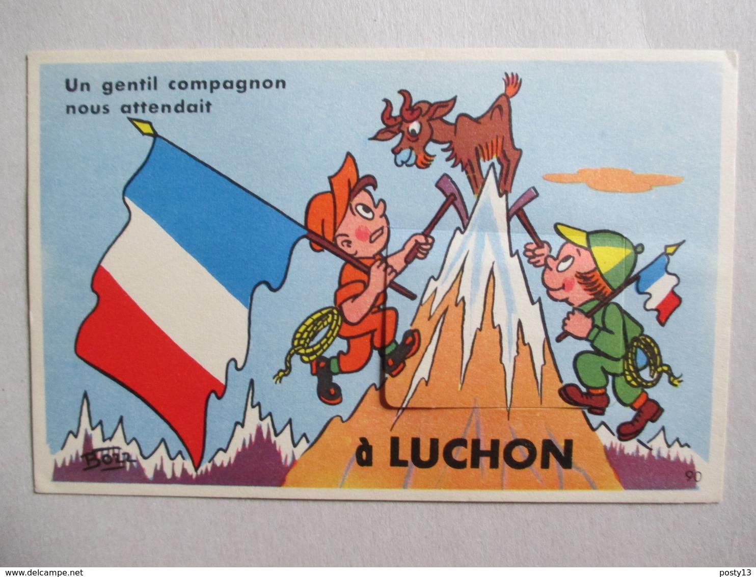 LUCHON - Carte Postale à Système Dépliant 10 Vues -  Illustration De BOZZ -  Parfait Etat - Luchon