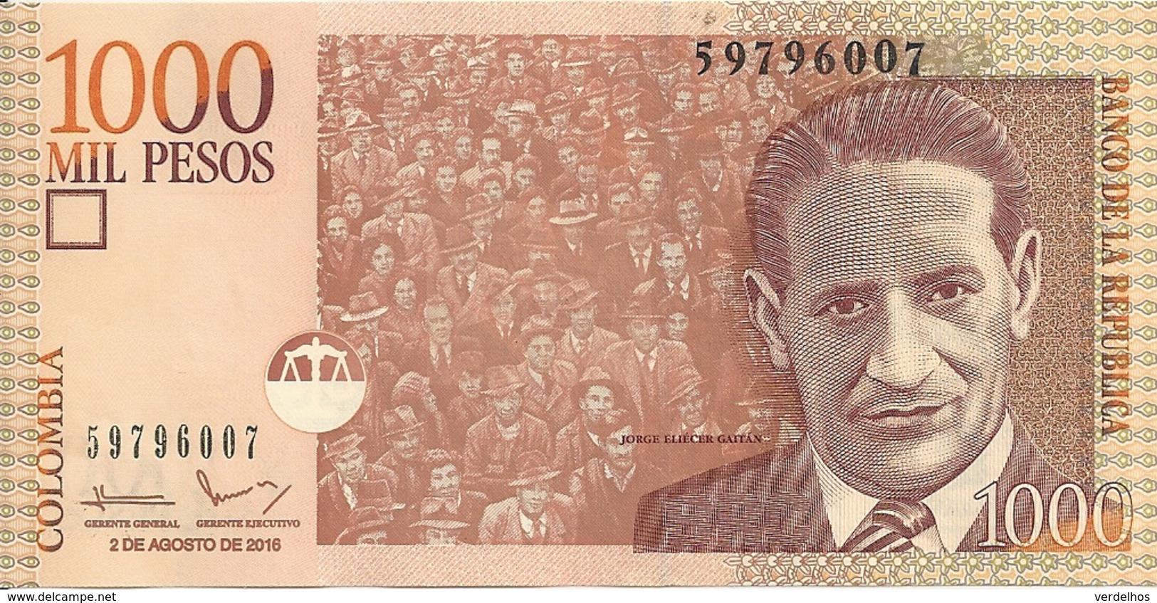 COLOMBIE 1000 PESOS 2016 UNC P 456 R - Colombie