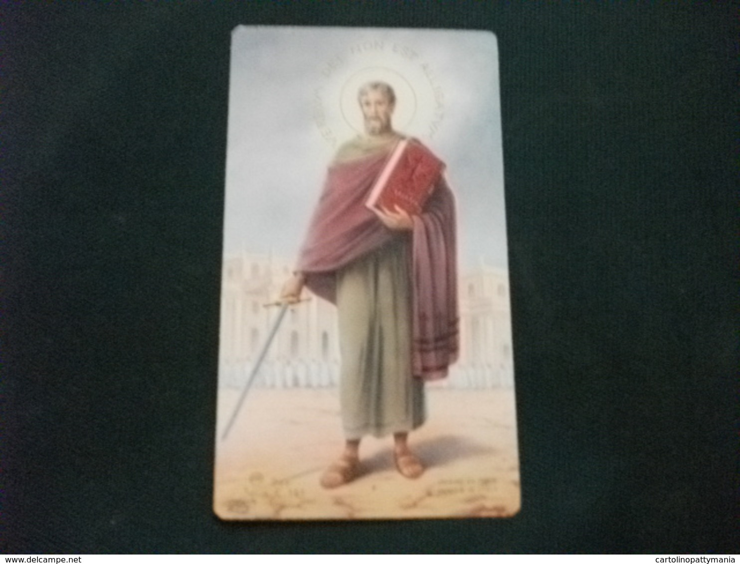SANTINO VERBUM DEI NON EST ALLIGATUM SAN PAOLO CON LA SPADA FIRMATO ZF SERIE C.161 - Religion & Esotérisme