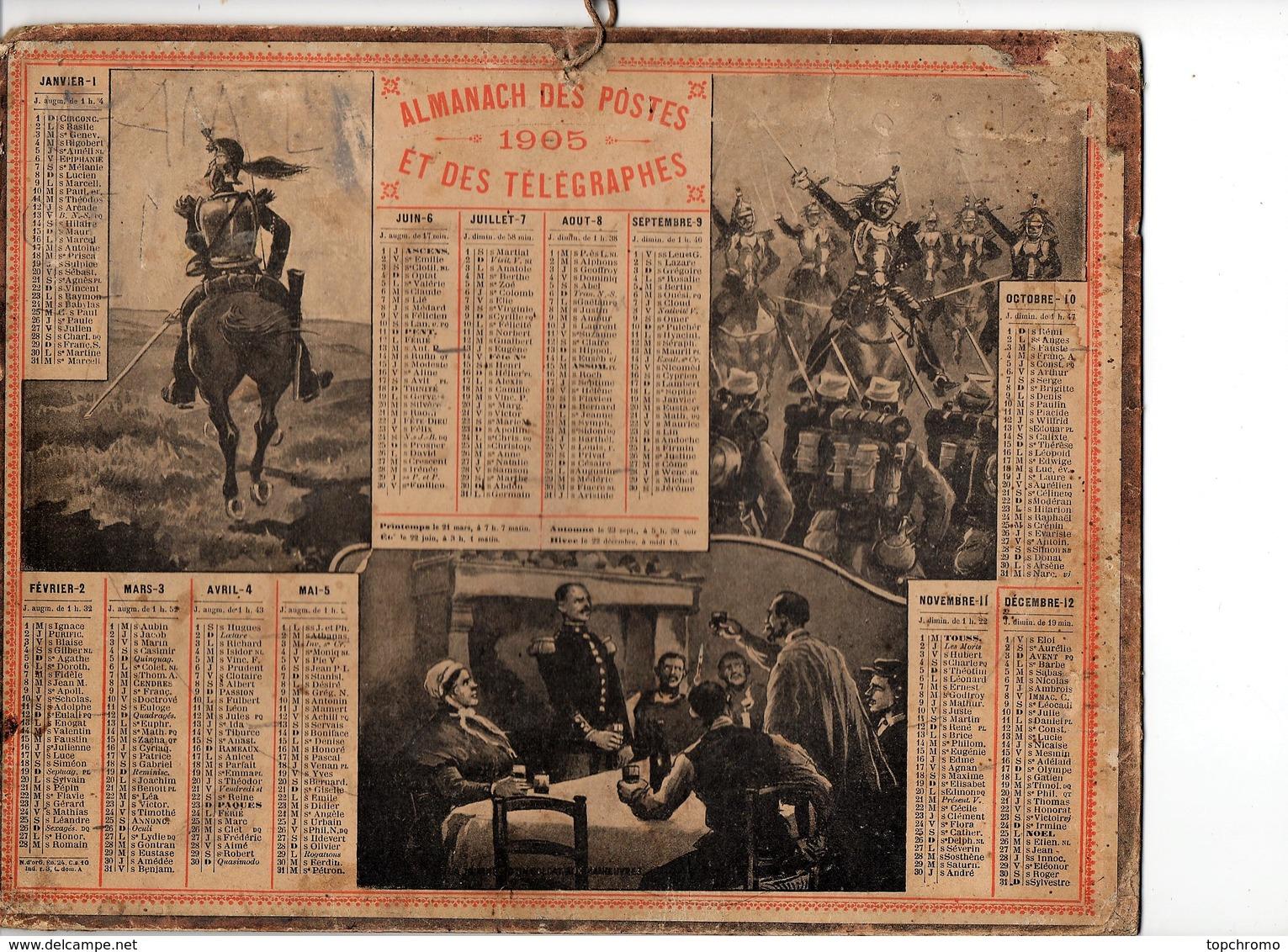 Calendrier Almanach Des Postes Et Télégraphes 1905 Oberthur Militaires Militaria - Calendari