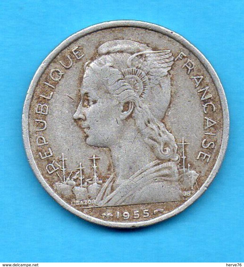 Ile De La Réunion - Pièce 5 Francs Aluminium - 1955 - Réunion