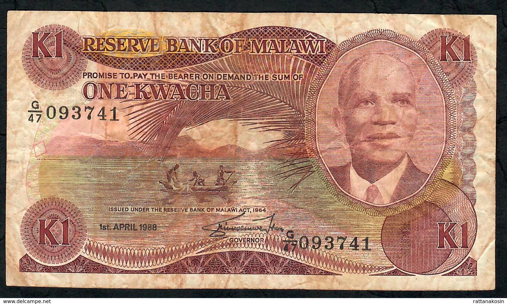 MALAWI P19b 1 KWACHA 1988 #G/47   FINE NO P.h. - Malawi