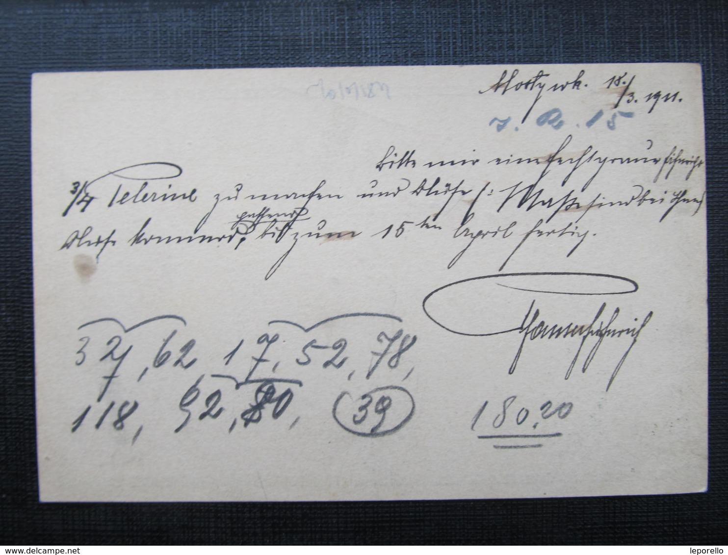 GANZSACHE Mosty Wielkie 1911 Korrespondenzkarte ///  D*36468 - 1850-1918 Imperium