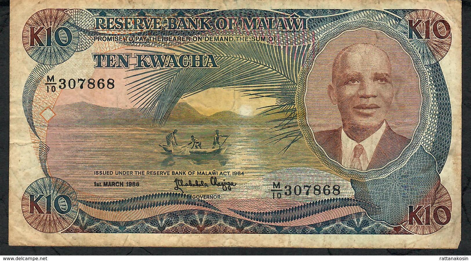 MALAWI P21a 10 KWACHA 1986 FINE NO P.h. ! - Malawi