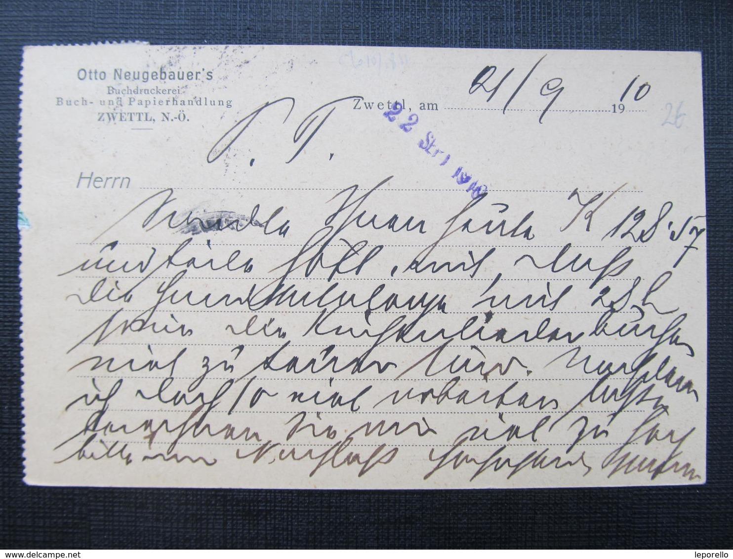 KARTE Zwettl - Wien 1910 Otto Neugebauer Verlag !! ///  D*36469 - Briefe U. Dokumente