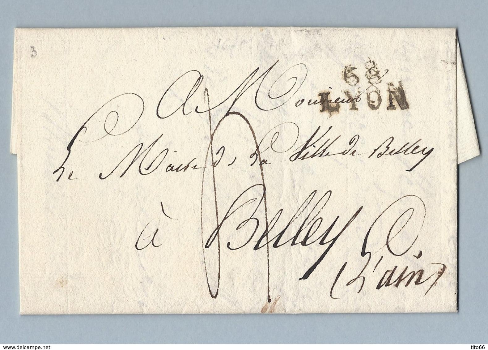 Lettre Avec Correspondance De Lyon Vers Belley Du 16 Juin 1818 - 1801-1848: Precursors XIX