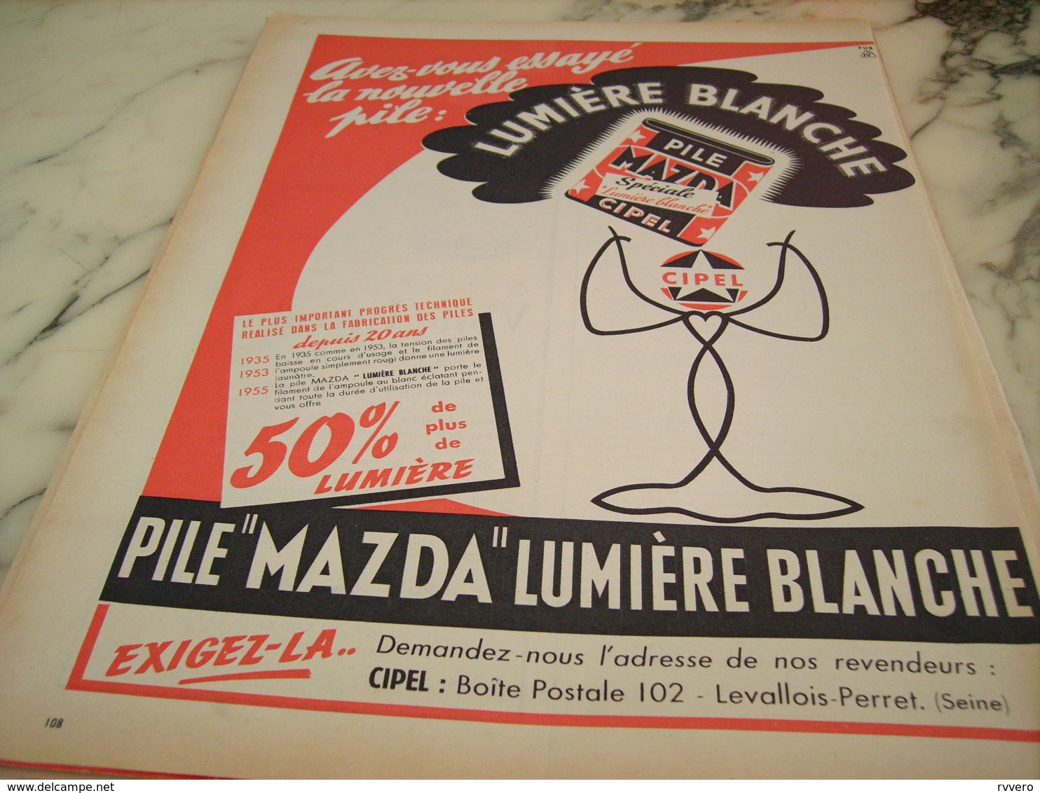 ANCIENNE PUBLICITE PILE MAZDA  1955 - Affiches