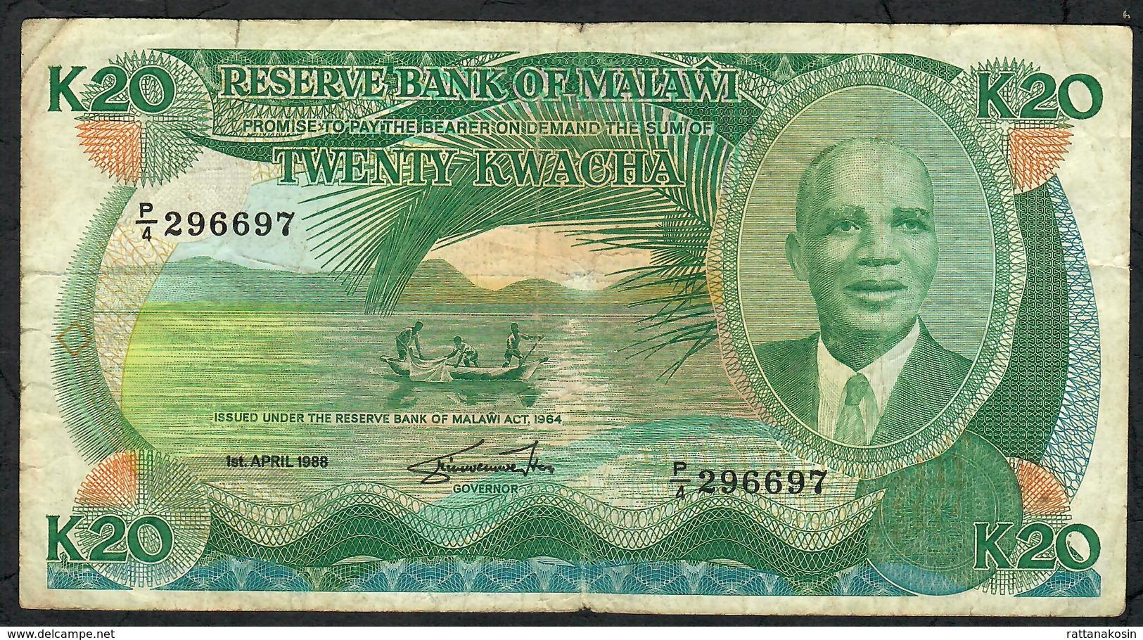 MALAWI P22b 20 KWACHA  1988    FINE    NO P.h. ! - Malawi