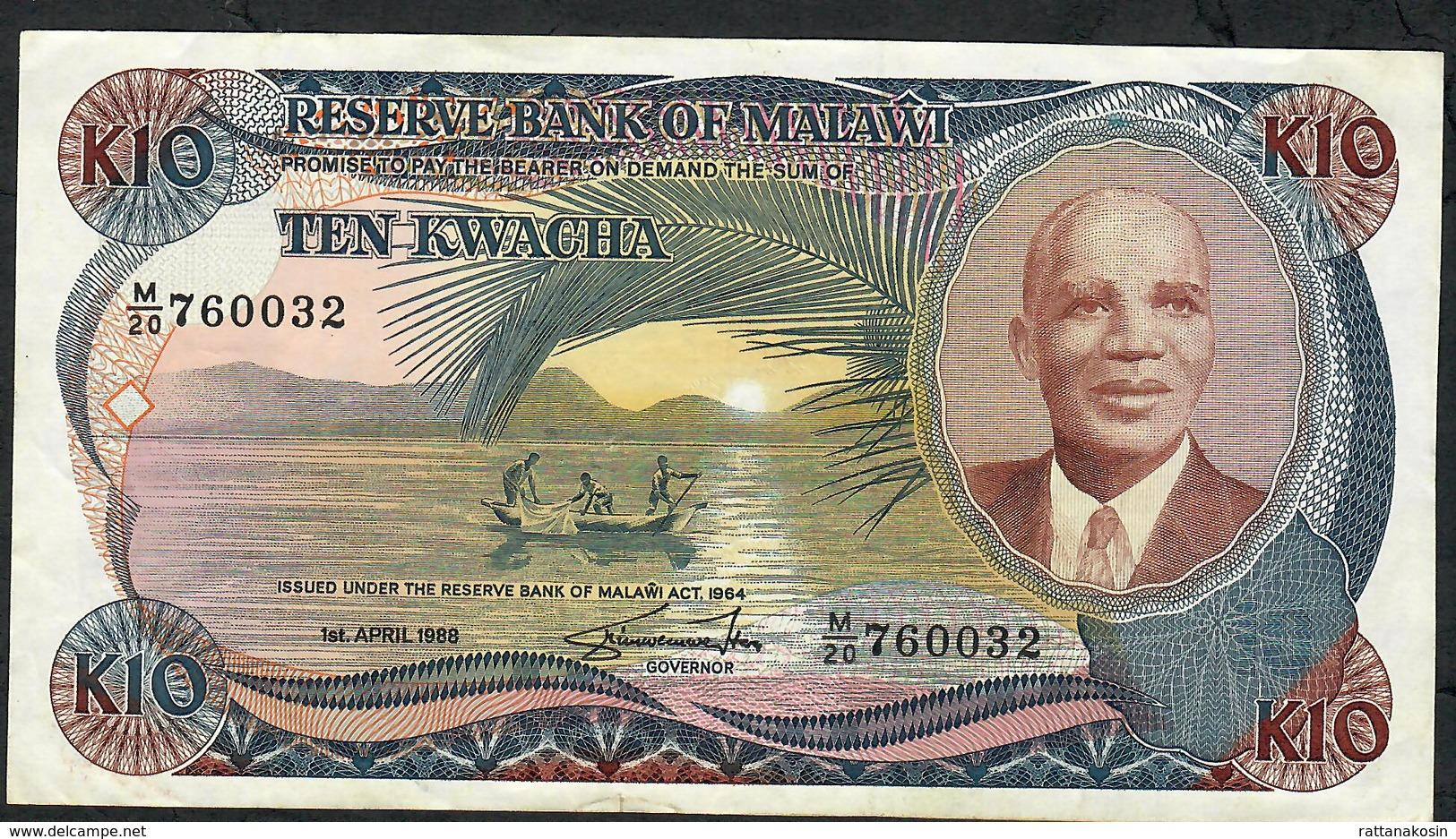 MALAWI P21b  10 KWACHA  1988    VF   NO P.h. ! - Malawi
