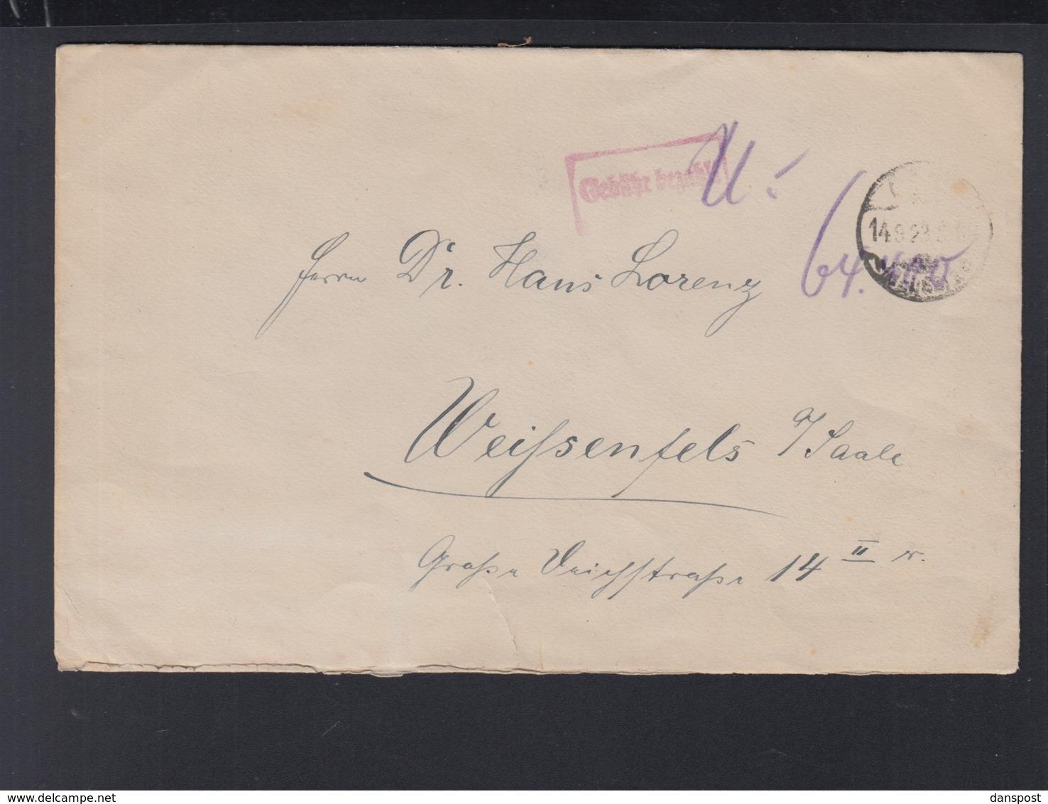 Dt. Reich Brief Gebühr Bezahlt Marken Handschriftlich Entwertet - Briefe U. Dokumente