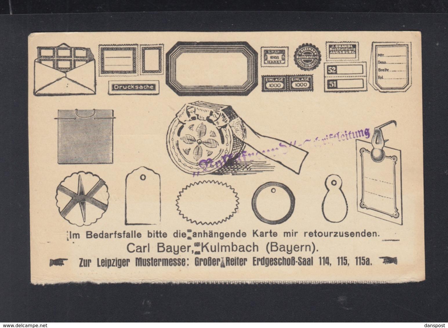 Dt. Reich PK Werbung Carl Bayer Kulmbach - Briefe U. Dokumente