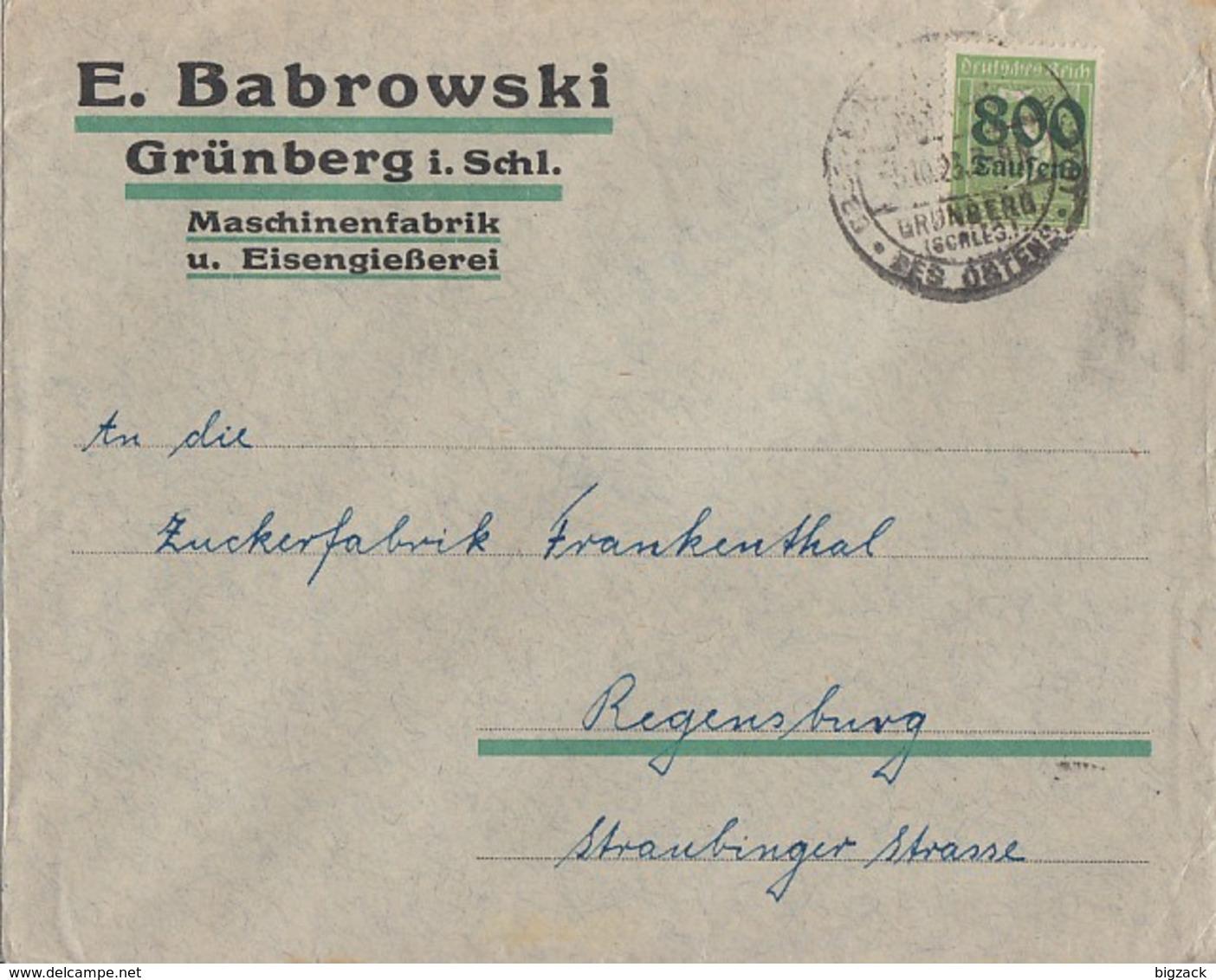 DR Werbebrief E: Babrowski Grünberg I. Schl. EF Minr.301 SST Grünberg 5.10.23 - Briefe U. Dokumente