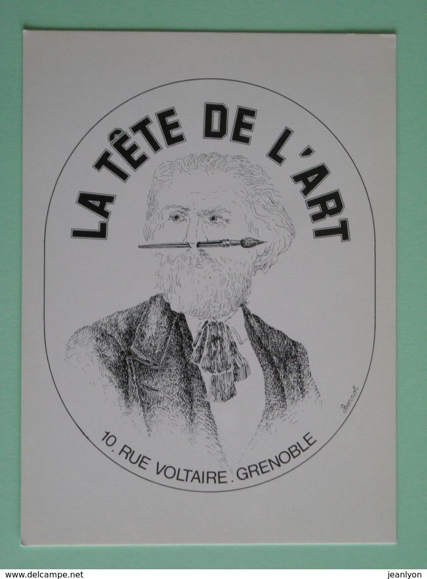 Homme Avec Pinceau Dans Les Narines / Peintre - Carte Publicitaire La Tete De L'Art à Grenoble - Peintures & Tableaux