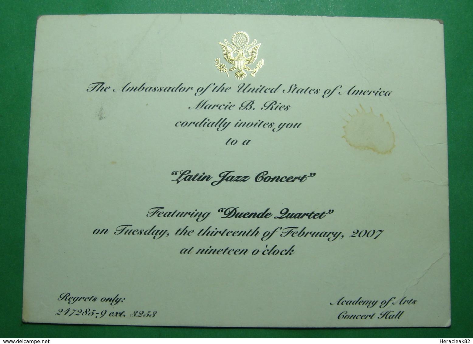 2007 Albania. US EMBASSY In Tirana. Invitation For Latin Jazz Concert - Albanie