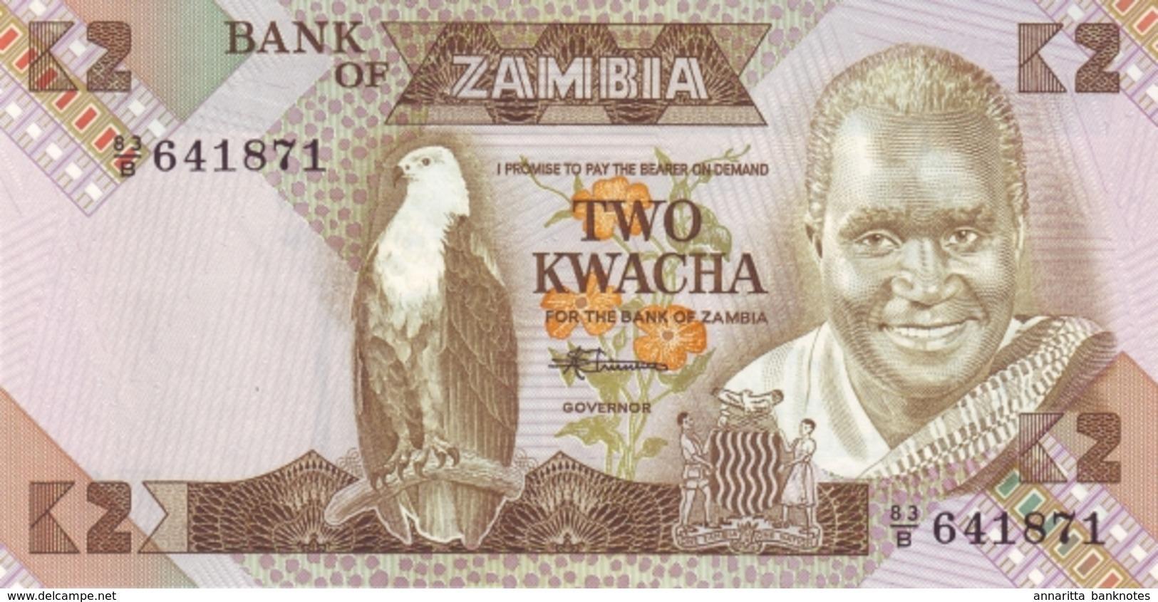 ZAMBIE 2 KWACHA ND (1986) P-24c NEUF [ZM125c] - Zambie
