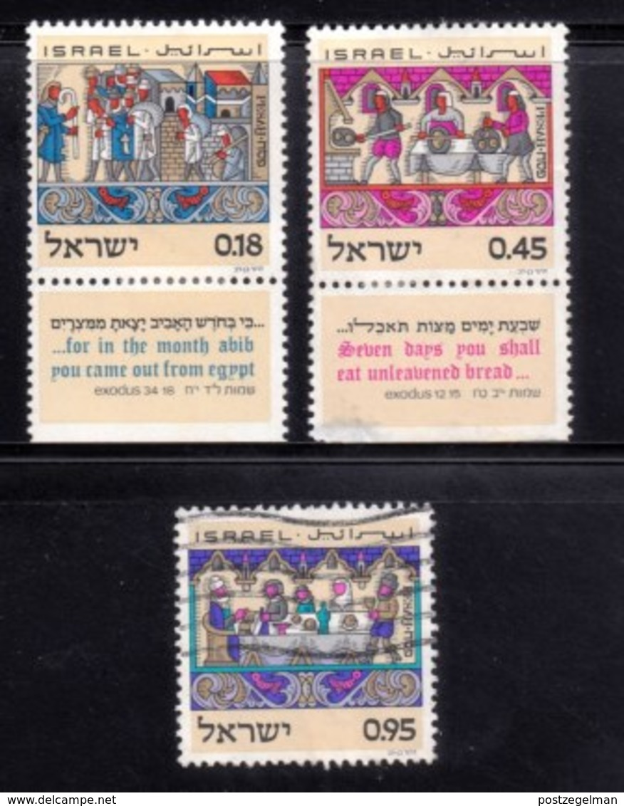 ISRAEL, 1972, Unused Hinged Stamp(s), With Tab, Passover Feast, SG Number 521-523, Scan Number 17424,  One Without Tab - Israel