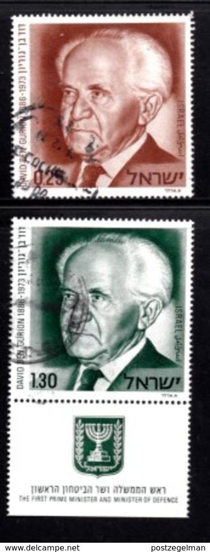ISRAEL, 1974, Used Stamp(s), Partly With Tab, David Ben Gurion, SG Number 586-587, Scan Number 17444, - Israel